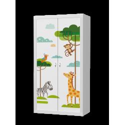 Šatní skříň FILIP 2D s motivem ŘÍŠE TROLLŮ (Bílá)