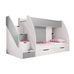 Patrová postel MARCINEK včetně úložného prostoru (Šedá)