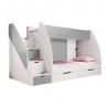Rozměry:Šířka: 255 cmVýška: 150 cmHloubka: 125 cm Materiál: lamino+ ochrana hran ABS Barva: bílá +šedá Nosnost:60 kg/lůžko Rozměr vrchního lůžka: 80x200 cm Rozměr spodního lůžka: 80x200 cm Součástí postele jsou rošty. Schody jsou univerzální -lze je umístit na na obě strany. K posteli můžete dokoupitprémiové dětské matrace.