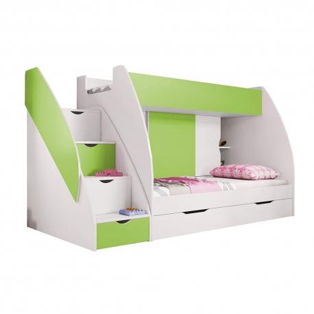 Patrová postel MARCINEK včetně úložného prostoru (Zelená)