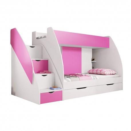 Patrová postel MARCINEK včetně úložného prostoru (Růžová)