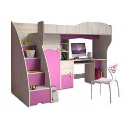 Multifunkční postel BAJKA včetně psacího stolu (Růžová)