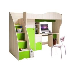 Multifunkční postel BAJKA včetně psacího stolu (Zelená)