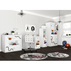 Kompletní dětský pokoj s motivem BLESK MCQUEEN - Auta/Cars (Bílá)