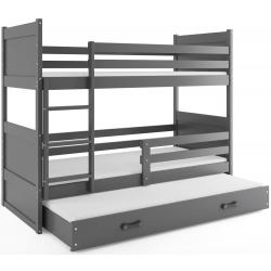 Patrová postel RICO pro 3 osoby včetně matrací (Grafit)