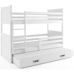 Patrová postel RICO pro 3 osoby včetně matrací (Bílá)