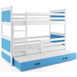 Patrová postel RICO pro 3 osoby včetně matrací (Bílá + Modrá)