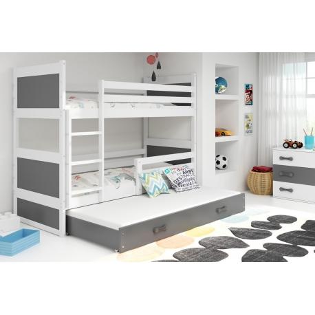 Patrová postel RICO pro 3 osoby (Bílá + Šedá)