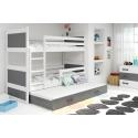 Patrová postel RICO pro 3 osoby včetně matrací (Bílá + Šedá)