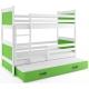 Patrová postel RICO pro 3 osoby (Bílá + Zelená)