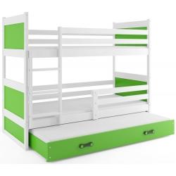 Patrová postel RICO pro 3 osoby včetně matrací (Bílá + Zelená)