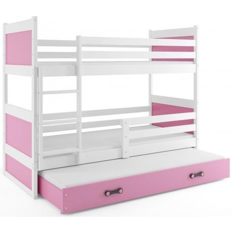 Patrová postel RICO pro 3 osoby (Bílá + Růžová)