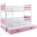 Patrová postel RICO pro 3 osoby včetně matrací (Bílá + Růžová)