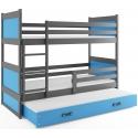 Patrová postel RICO pro 3 osoby včetně matrací (Grafit + Modrá)