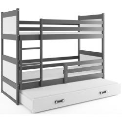 Patrová postel RICO pro 3 osoby včetně matrací (Grafit + Bílá)