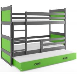 Patrová postel RICO pro 3 osoby včetně matrací (Grafit + Zelená)
