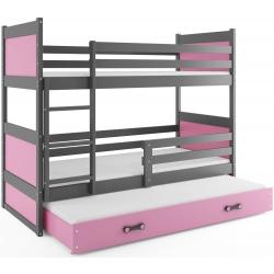 Patrová postel RICO pro 3 osoby včetně matrací (Grafit + Růžová)