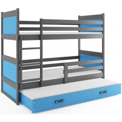 Patrová postel RICO pro 3 osoby včetně matrací (Grafit + Fialová)