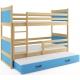 Patrová postel RICO pro 3 osoby (Borovice + Modrá)
