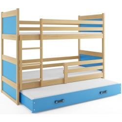 Patrová postel RICO pro 3 osoby včetně matrací (Borovice + Modrá)