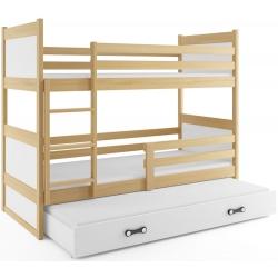 Patrová postel RICO pro 3 osoby včetně matrací (Borovice + Bílá)