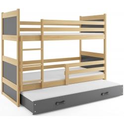 Patrová postel RICO pro 3 osoby včetně matrací (Borovice + Šedá)