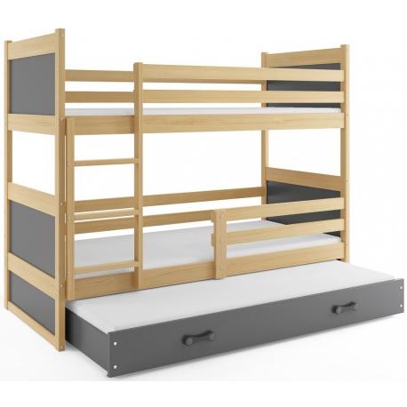 Patrová postel RICO pro 3 osoby (Borovice + Šedá)