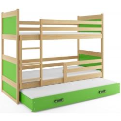 Patrová postel RICO pro 3 osoby včetně matrací (Borovice + Zelená)