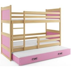 Patrová postel RICO pro 3 osoby včetně matrací (Borovice + Růžová)