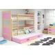Patrová postel RICO pro 3 osoby (Borovice + Růžová)