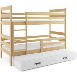Patrová postel ERYK pro 3 osoby včetně matrací (Borovice)