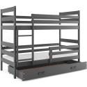 Patrová postel ERYK s úložným prostorem včetně matrací (Grafit)