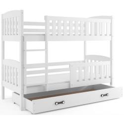Patrová postel JAKUB s úložným prostorem včetně matrací (Bílá)