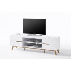 Televizní stolek CERVO (Bílá + Dub)
