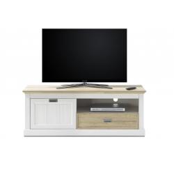 Televizní stolek CLEVELAND (Bílá + Dub)