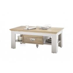 Konferenční stolek CLEVELAND (Bílá + Dub)