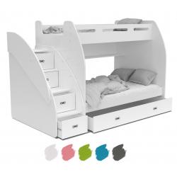 Patrová postel ZUZA s úložným prostorem (různé barvy)