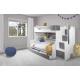 Patrová postel HARRY pro 3 osoby včetně úložného prostoru (Šedá)