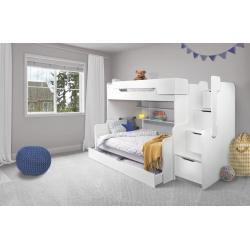 Patrová postel HARRY pro 3 osoby včetně úložného prostoru (Bílá)