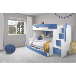 Patrová postel HARRY pro 3 osoby včetně úložného prostoru (Modrá)