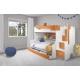 Patrová postel HARRY pro 3 osoby včetně úložného prostoru (Oranžová)