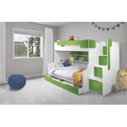 Patrová postel HARRY pro 3 osoby včetně úložného prostoru (Zelená)