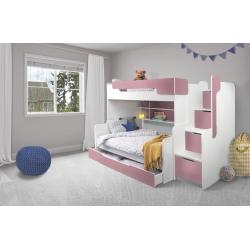 Patrová postel HARRY pro 3 osoby včetně úložného prostoru (Růžová)