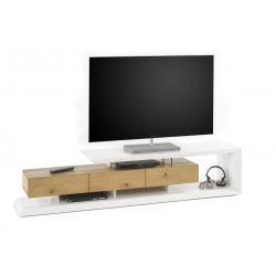 Televizní stolek EMELA (Bílá + Dub)