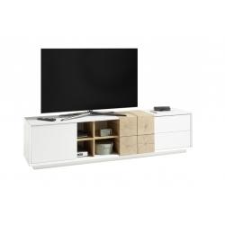 Televizní stolek MONTEREY (Bílá + Dub)