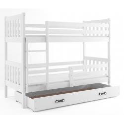 Patrová postel CARINO s úložným prostorem včetně matrací (Bílá)