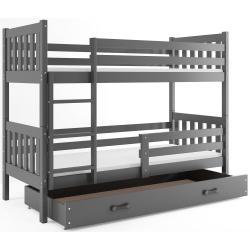 Patrová postel CARINO s úložným prostorem včetně matrací (Šedá)