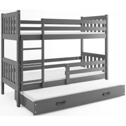 Patrová postel CARINO s přistýlkou včetně matrací (Šedá)