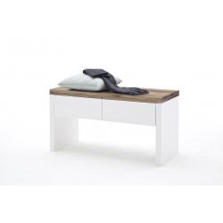Lavice ROMINA s úložným prostorem (Bílá + Dub masiv)