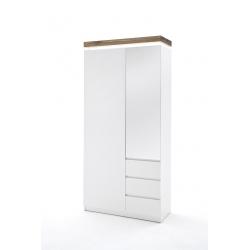 Šatní skříň ROMINA (Bílá + Dub masiv)